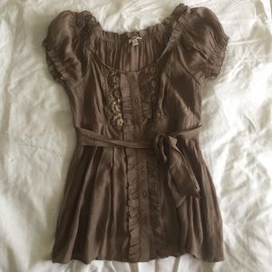 Ruffled Brown Blouse